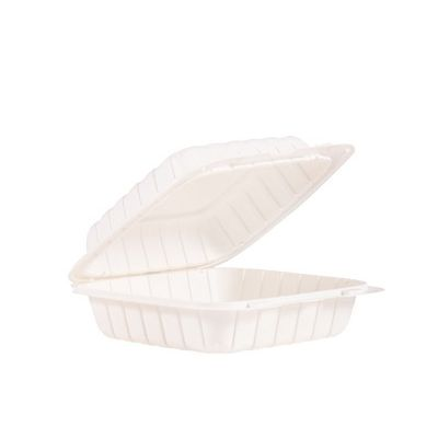 """Dart 85MFPPHT1 ProPlanet Plastic Hinged Lid Container, Mineral-Filled Polypropylene, 8"""" x 8.3"""" x 3"""", White - 150 / Case"""