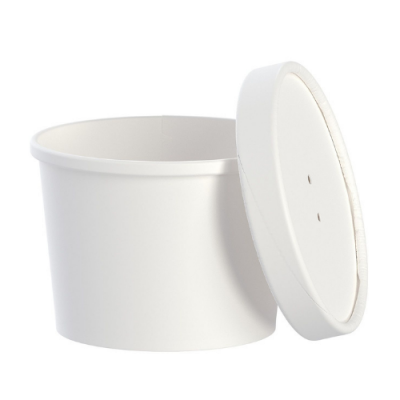 Solo KHSB12A-2050 Flexstyle 12 oz Paper Containers with Vented Lids, White - 250 / Case