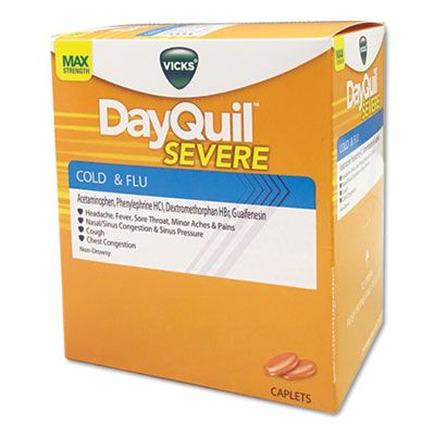 Vicks DayQuil Severe Cold and Flu Tablets, Daytime Non-Drowsy, 2 Pills / Pack - 25 / Case (BXDXSV25)