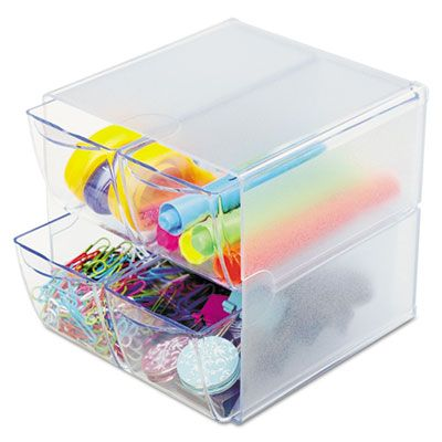 """Deflecto 350301 Cube Organizer, 4-Drawer, Stackable, 6"""" x 7-1/8"""" x 6"""", Clear - 6 / Case"""