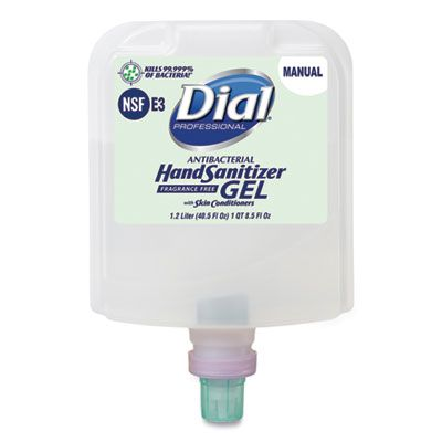 Dial 19708 Antibacterial Hand Sanitizer Gel, Fragrance Free, 1200 mL Manual 1700 Refill - 3 / Case