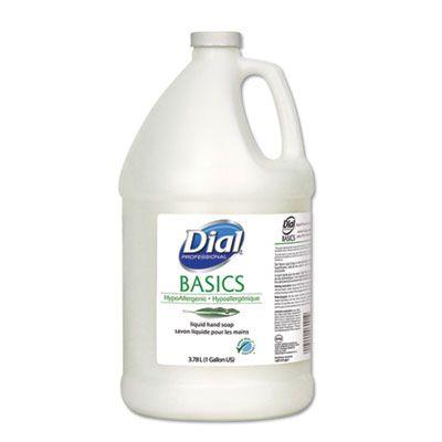 Dial 6047 Basics Hypoallergenic Liquid Hand Soap, Fresh Floral Scent, 1 Gallon Bottle, White - 4 / Case