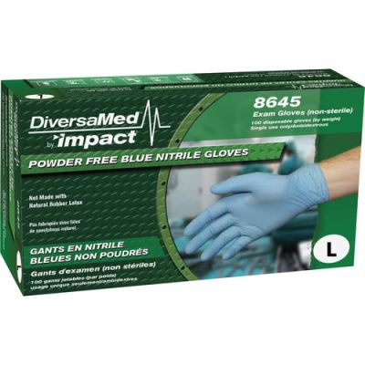DiversaMed 8645L Nitrile Exam Gloves, Powder Free, Large, Blue - 1000 / Case