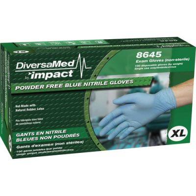DiversaMed 8645XL Nitrile Exam Gloves, Powder Free, X-Large, Blue - 100 / Case