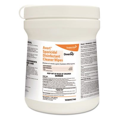 "Diversey 100895790 Avert Sporicidal Disinfectant Cleaner Wipes, Chlorine, 6"" x 7"", 160 / Can - 12 / Case"