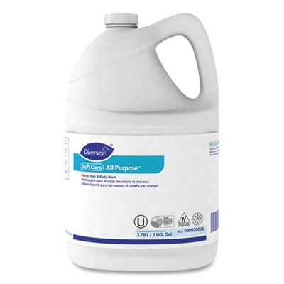 Diversey 100920026 Soft Care All Purpose Liquid Hand Soap & Body Wash, Gentle Floral, 1 Gallon Bottle - 4 / Case