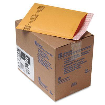 "Diversey 10185 Jiffylite Self-Seal Bubble Mailer, Self-Adhesive Closure, 6"" x 10"", Golden Brown - 25 / Case"
