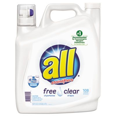 Diversey 46139 All Free Clear 2x Liquid Laundry Detergent, Unscented, 162 oz Bottle - 2 / Case