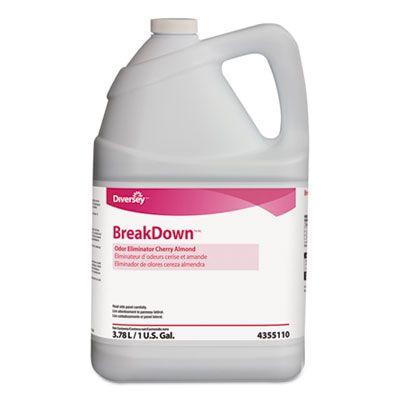 Diversey 94355110 BreakDown Odor Eliminator, Cherry Almond Scent, 1 Gallon - 4 / Case