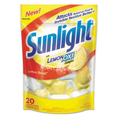 Diversey CB711021 Sunlight Automatic Dishwasher Power Pacs, Lemon, 20 / Pouch - 6 / Case