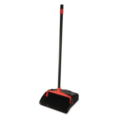 Diversey CB962082 O-Cedar Commercial Maxi-Plus Lobby Dust Pan with Rear Wheels, Black - 6 / Case