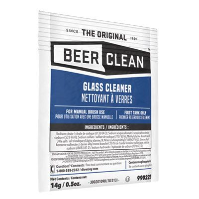 Diversey 990221 Beer Clean Glass Cleaner Powder, 0.5 oz Packet - 100 / Case