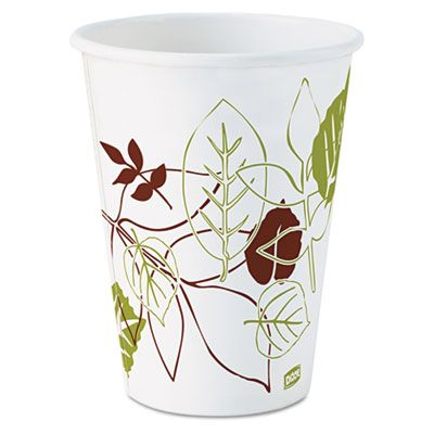 Dixie 2342PATH 12 oz Pathways Paper Hot Cups, Poly-Lined - 1000 / Case