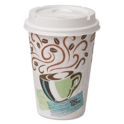 Dixie 5342COMBO6 12 oz PerfecTouch Insulated Paper Hot Cup & Lid Combo - 300 / Case