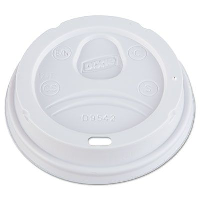 Dixie D9542 Plastic Dome Drink-Thru Lids for 10, 12, 16 oz Paper Hot Cups, White - 1000 / Case