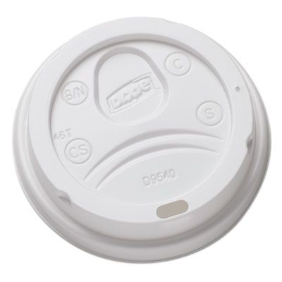 Dixie DL9540 Plastic Sip-Through Dome Lid for 10 oz Hot Cups, White - 1000 / Case