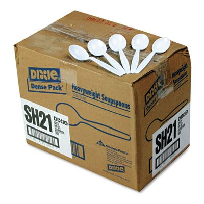 Dixie SH217 Plastic Soup Spoons, Heavyweight Polystyrene, White - 1000 / Case