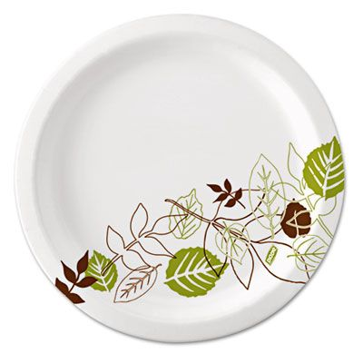 "Dixie UX7WS 6-7/8"" Pathways Coated Paper Plates - 500 / Case"