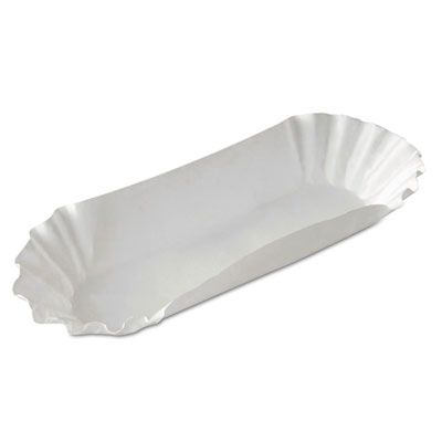 """Dixie HD8050 8"""" Hot Dog Tray, Fluted, Medium Weight Paper, White - 3000 / Case"""