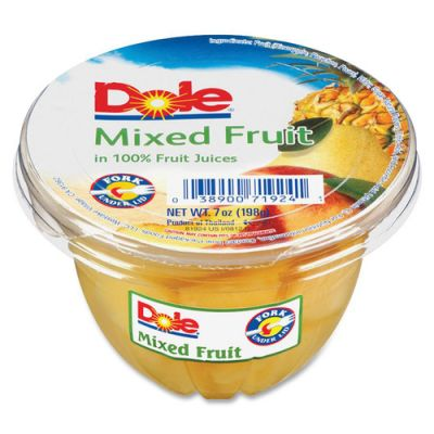 Dole 71924 Mixed Fruit Cups in 100% Fruit Juices, 7 oz - 12 / Case