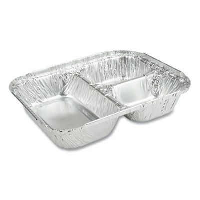 "Durable Pkg 210305X Oblong Aluminum Foil Container w/ Board Lid, 3 Compartments, 6.56"" x 8.69"" x 1.81"", 23 oz - 500 / Case"