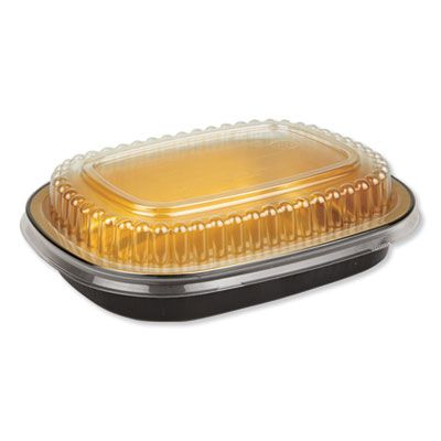 "Durable Pkg 9331PT100 Aluminum Container with Plastic Lid, 6.25"" x 1.25"" x 4.38"", 23 oz, Black / Gold - 100 / Case"