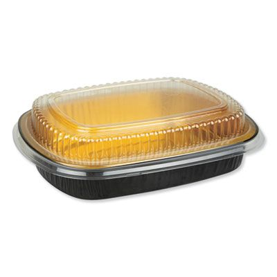 "Durable Pkg 9442PT50 Aluminum Container with Plastic Lid, 9.75"" x 1.75"" x 7.75"", 47 oz, Black / Gold - 50 / Case"