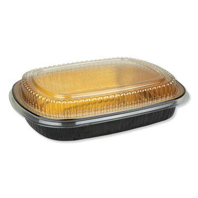 """Durable Pkg 9553PT50 Aluminum Container with Plastic Lid, 11.25"""" x 1.75"""" x 8.88"""", 63 oz, Black / Gold - 50 / Case"""