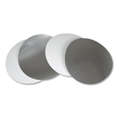 "Durable Pkg L280500 Flat Board Lids for 8"" Round Foil Containers, Silver - 500 / Case"