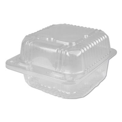 """Durable Pkg PXT600 Plastic Hinged Carryout Containers, 6.13"""" x 6.5"""" x 3.25"""", Clear - 500 / Case"""