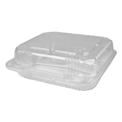 "Durable Pkg PXT833 Plastic Hinged Carrryout Containers, 3 Compartments, 8.88"" x 8"" x 3"", Clear - 250 / Case"