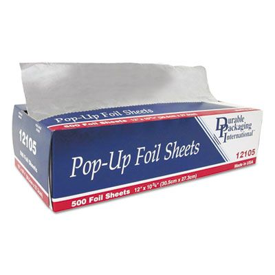 "Durable Pkg 12105 Aluminum Foil Sheets, Pop-Up, 12"" x 10-3/4"" - 3000 / Case"