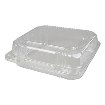 """Durable Pkg PXT880 Plastic Hinged Carryout Containers, 8.88"""" x 8"""", 50 oz, Clear - 250 / Case"""