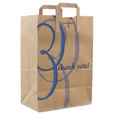 "Duro 41265 'Thank You' Handle Paper Shopping Bags, 12"" x 17"" x 7"", Brown - 300 / Case"