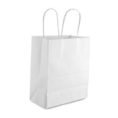 "Duro 88206 Bistro Medium Paper Shopping Bags, 60#, 10"" x 6.75"" x 12"", White - 250 / Case"