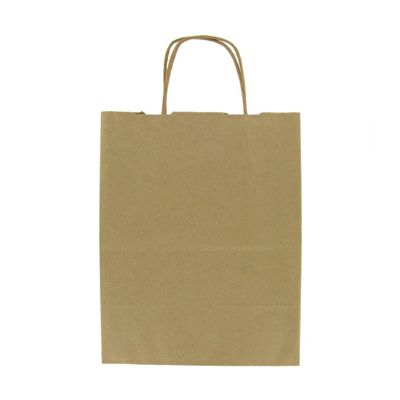 "Duro 87523 Jr. Mart Medium Square Paper Shopping Bags, 65#, 13"" x 7"" x 13"", Kraft - 250 / Case"