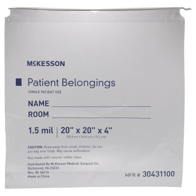 "McKesson 30431100 Patient Belongings Bag, 4"" x 20"" x 20"", Polyethylene, Drawstring Closure, Clear - 250 / Case"