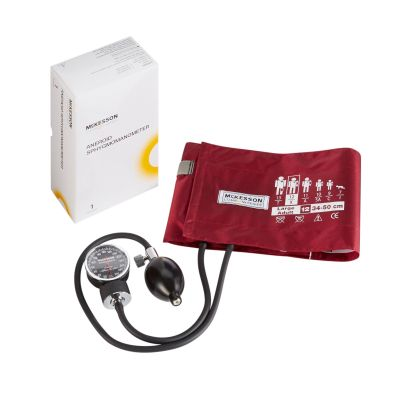 McKesson 01-720-12XBDGM LUMEON Aneroid Sphygmomanometer with Large Adult Arm Cuff, 2-Tubes, Pocket Size Hand Held - 20 / Case