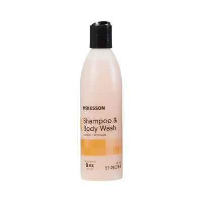 McKesson 53-28023-8 Shampoo & Body Wash, Apricot Scent, 8 oz Squeeze Bottle - 48 / Case