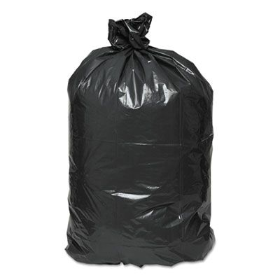 "Webster RNW5820 Reclaim 60 Gallon Trash Can Liners / Garbage Bags, 2 Mil, 38"" x 58"", Black - 100 / Case"