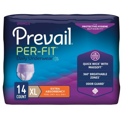"""First Quality PFW-514 Prevail Per-Fit Absorbent Underwear, Women, X-Large (58 to 68""""), Moderate Absorbency - 14 / Case"""