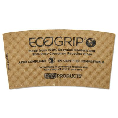 Eco-Products EG2000 EcoGrip Recycled Paper Coffee Cup Sleeves, Kraft - 1300 / Case