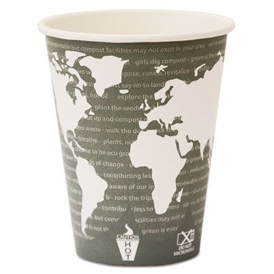 Eco-Products EPBHC12WA 12 oz Paper Hot Cups, PLA Lining, World Art Design - 500 / Case