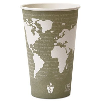 Eco-Products EPBHC16WA 16 oz Paper Hot Cups, PLA Lining, World Art Design - 500 / Case