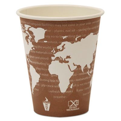 Eco-Products EPBHC8WA 8 oz Paper Hot Cups, PLA Lining, World Art Design - 500 / Case