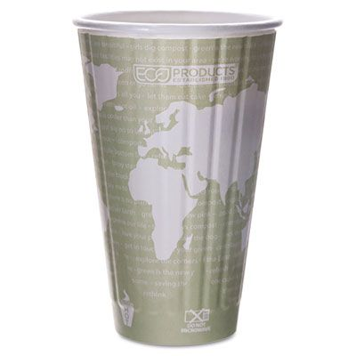 Eco-Products EPBNHC16WD World Art 16 oz Insulated Hot Cups, PLA-Lined - 600 / Case