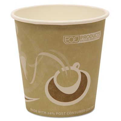 Eco-Products EPBRHC10EW 10 oz Paper Hot Cups, Recycled, Green with Design - 500 / Case