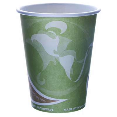 Eco-Products EPBRHC12EW 12 oz Paper Hot Cups, Recycled, Green with Design - 500 / Case
