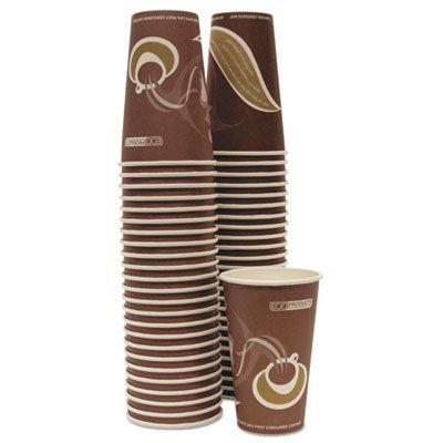 Eco-Products EPBRHC16EW 16 oz Paper Hot Cups, Recycled, Brown Design - 1000 / Case