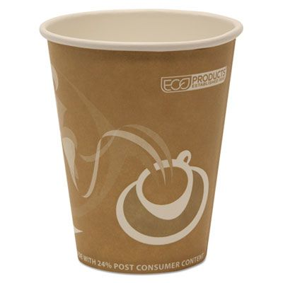 Eco-Products EPBRHC8EW 8 oz Paper Hot Cups, Recycled, Brown / Printed - 500 / Case